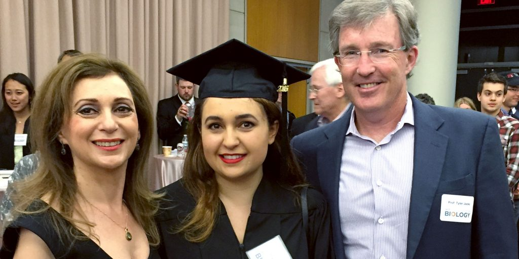 Roxy, her mom, and Dr. Tyler Jacks at her graduation from MIT.