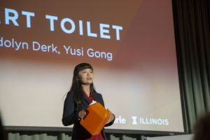 Yusi Gong, presenting her idea with teammate Gwendolyn Derk at the Health Make-a-Thon.